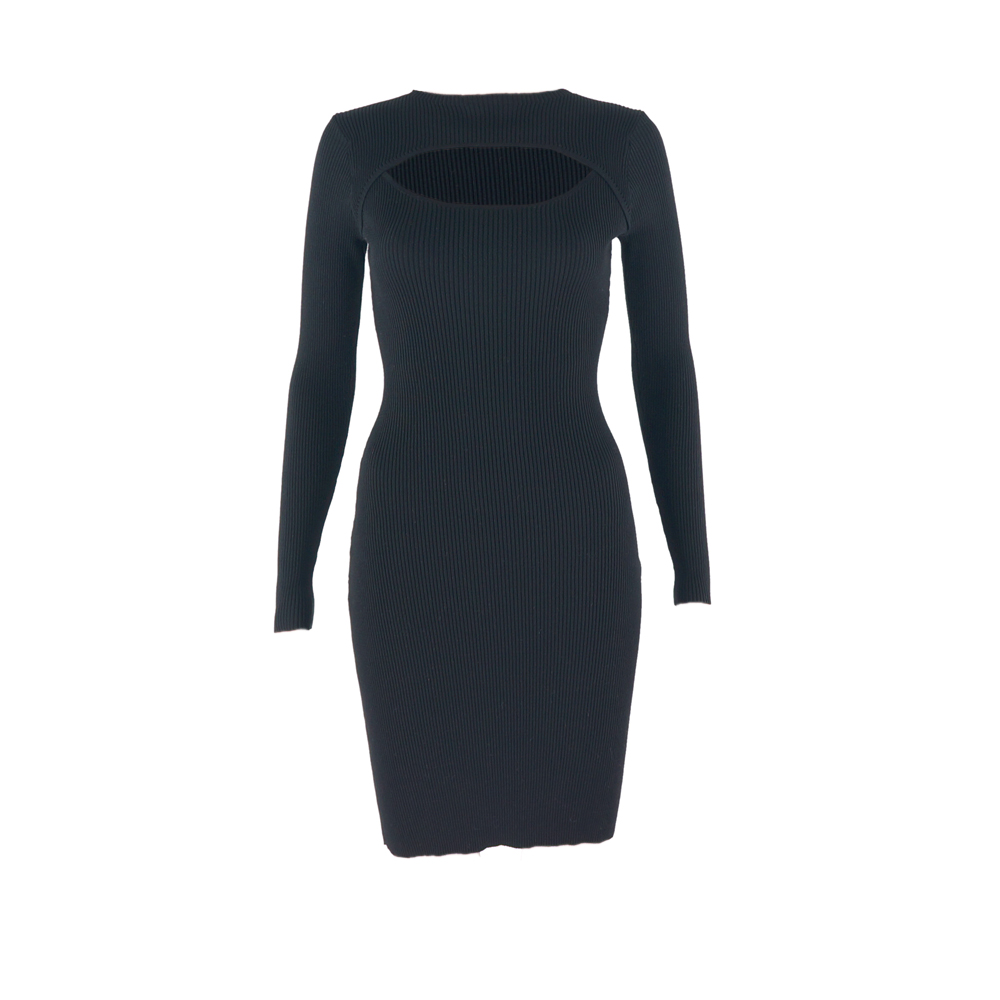 235e7ff6d17 Spring Autumn Ribbed Stretch Party Dresses Japanese Women s Sexy Bare Chest Long  Sleeve Slim Knit Dress Black Sweater Dress