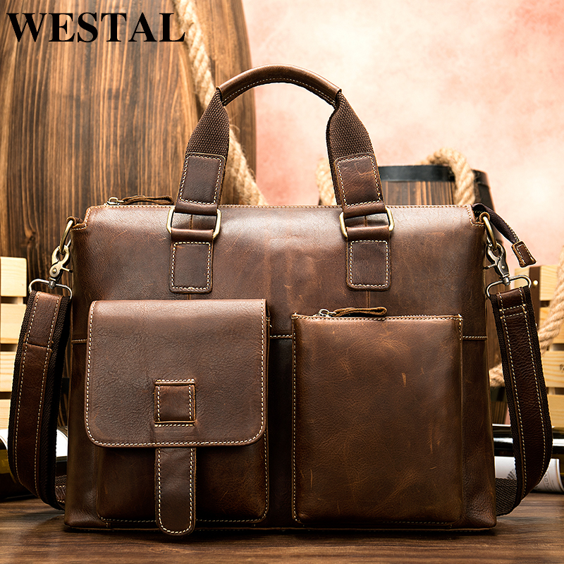 WESTAL men's briefcase bag men's genuine leather laptop bag office tote for men's leather messenger bags men's document bags 260