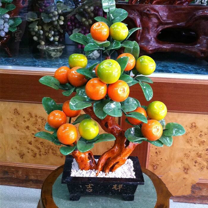 Double color of jade ornaments crafts are orange trees Home Furnishing Decor desk ornaments jewelry gifts