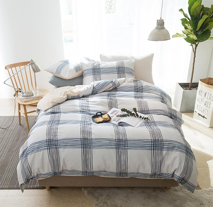 Boy plaid bedding - Geometric Plaid Bedding Set Cotton Teen Boy Twin Full Queen King Single Double Home Textiles