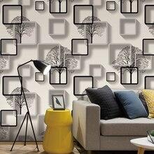 Biała, fioletowa, niebieska nowoczesna tapeta 3d do salonu tło pod telewizor dekoracja wnętrz kwadraty wzór tapeta w rolce