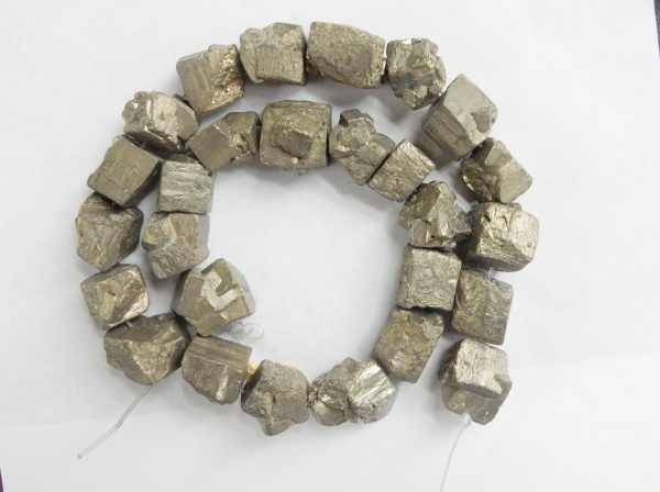 Charming 15mm freeform Raw nuggets pyrite Beads Approx 25Pcs
