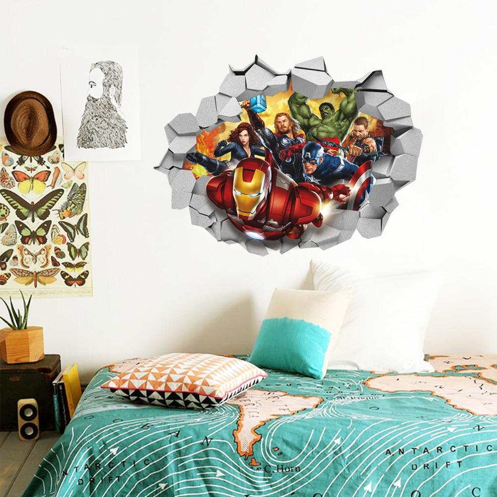autocollants muraux 3d avec les avengers autocollants graphiques amovibles pour chambre d enfant pour chambre d enfant de garcon cadeau affiche
