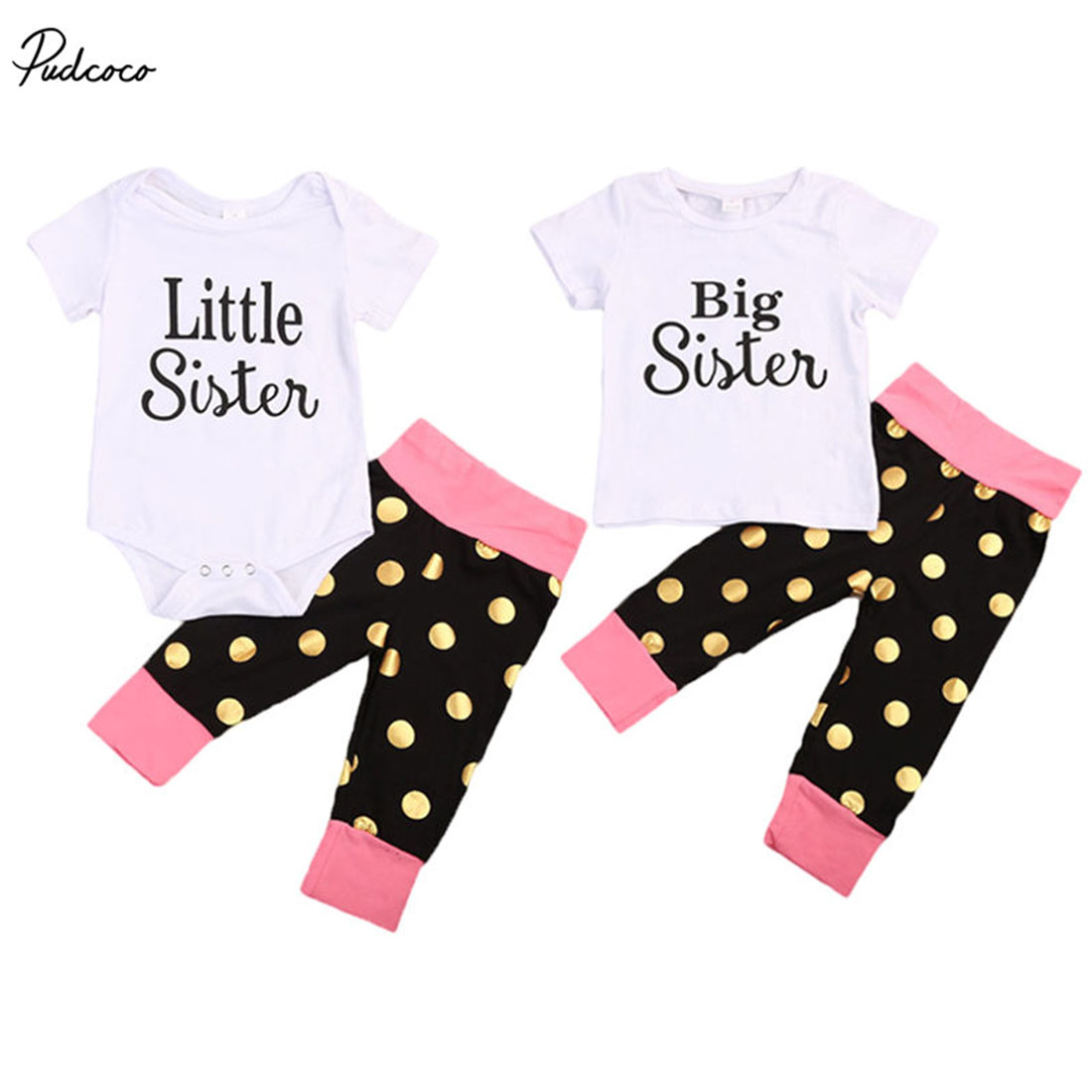 Family Set Newborn Baby Girls 2017 New Summer Little Big Sister Short Sleeve Romper Tops Polka Dot Pants Outfits Set