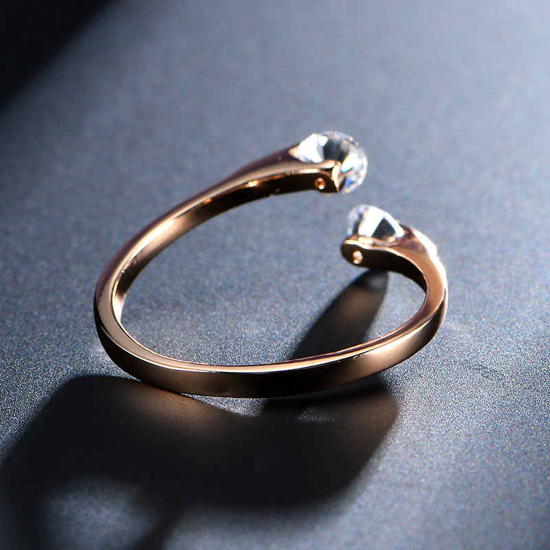 USTAR AAA Zircon แหวนเปิด Rose gold สีคริสตัลแหวนหมั้นคริสตัลแหวนหญิง anel ปรับขนาด