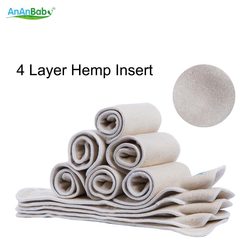 High Quality JC Trade Hot Sale Reusable 4 Layer Hemp Diaper Inserts Cloth Nappy 10Pcs Hemp Inserts