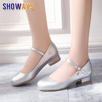 Sweet Silver Women Pumps Low Block Heels Gold Patent Leather Round Toe Wedding Party Crystal Ankle Strap Mary Jane Lolita Shoes