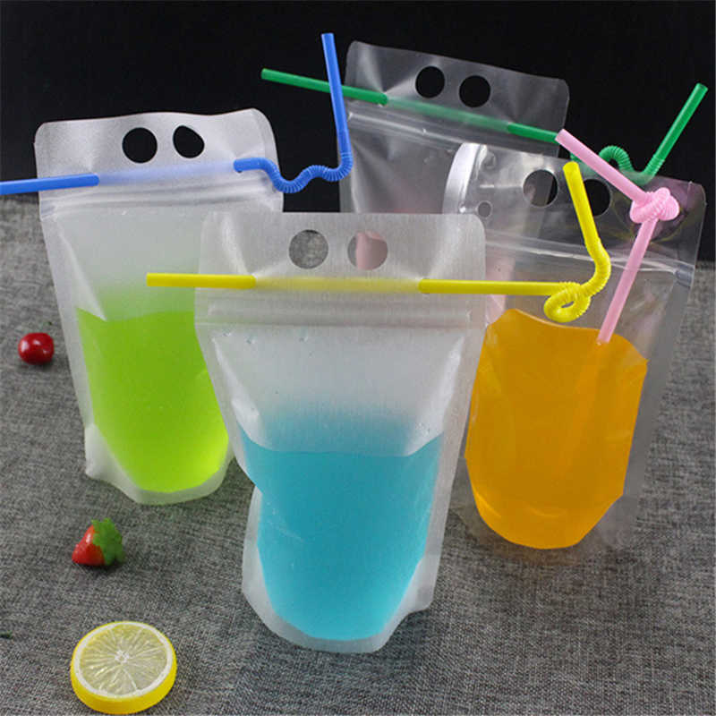 Hot Creativity Self-sealed Plastic Beverage Bags DIY Drink Container Drinking Fruit Juice Storage Bag Disposable party supplies