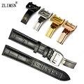 Zlimsn pulseiras de relógio das mulheres dos homens de 100% couro genuíno preto marrom relógios acessórios watch band strap fecho 20mm para i-w-c iwc68