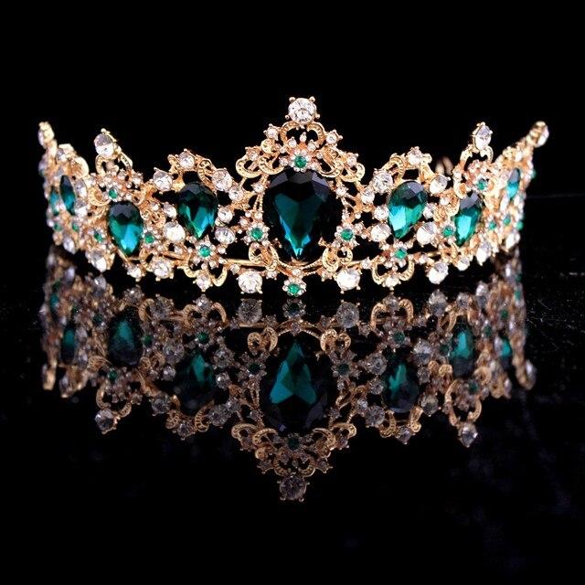 Корона в стиле барокко, красный, синий, зеленый кристалл, свадебная корона-тиара, винтажные золотые аксессуары для волос, свадебные стразы, д...