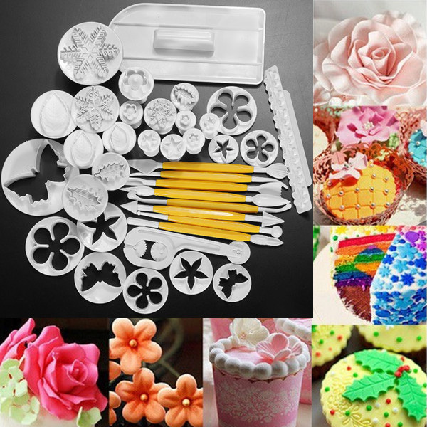 Sale 12 Sets 37pcs Fondant Cake Decorating Tools Cookie Sugar Craft Decorate Plunger Cutters Tools Cake