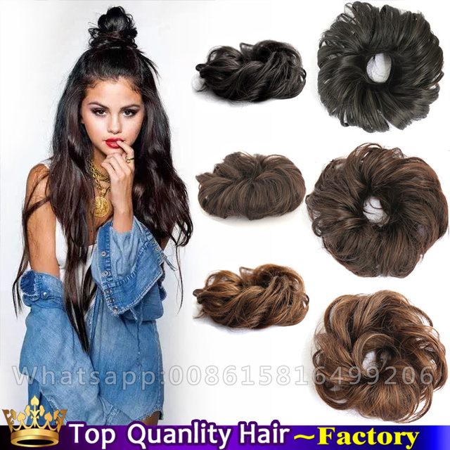 Synthetic Hair Bun Extension Elastic Chignon Buns Rubber Band Curly Chignons Hairpiece Rollers