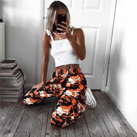 AOWOFS Mujeres Calientes Pantalones de Camuflaje Camo Naranja Pantalón con bolsillos Cintura alta Hip hop Niñas Amarilla Militar Pantalón Basculador danza pantalones