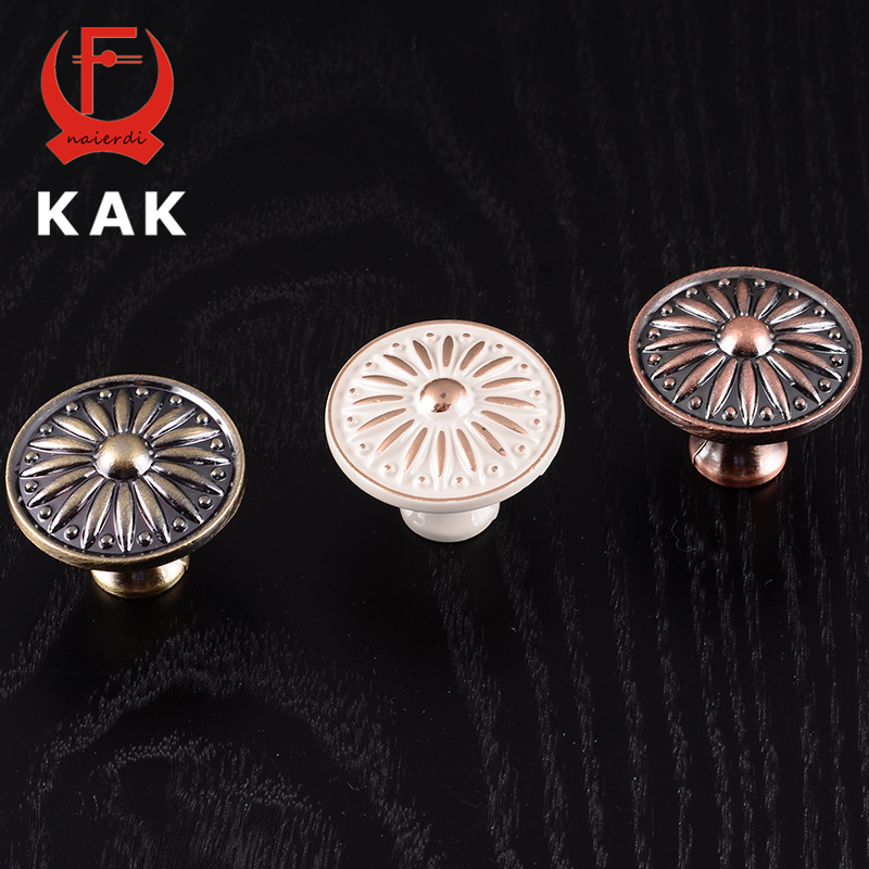 KAK 10pcs Retro Red Bronze Kitchen Cabinet Knobs Cupboard Door Zinc Alloy Handles Vintage Wardrobe Furniture Handle Drawer Pulls kak 96mm aluminum handles kitchen door cupboard modern wardrobe handle drawer pulls cabinet knobs with screw furniture hardware