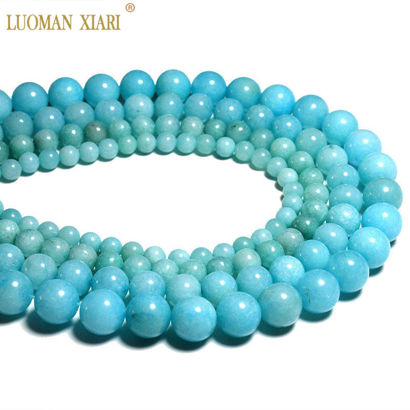 Sprzedaż hurtowa Blue Beads Natural White Stone Koraliki do tworzenia biżuterii Amazonite Color Diy Bracelet Necklace 6mm 8mm 10mm Beads