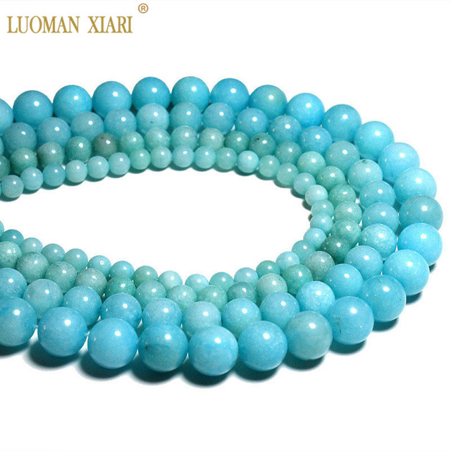 Wholesale Blue Beads Natural White Stone Beads For Jewelry Making Amazonite Colo