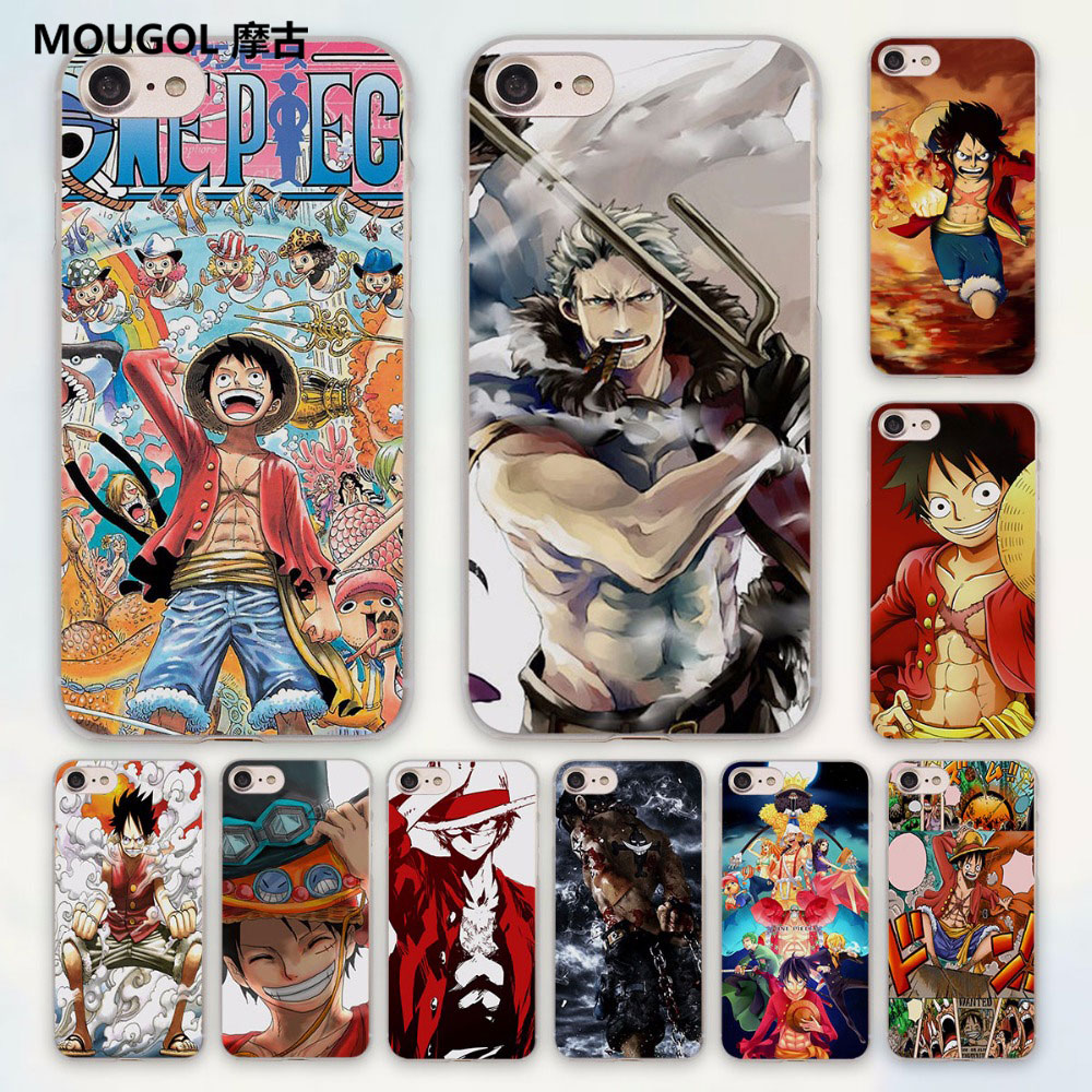MOUGOL luffy smile one piece anime I am the king design hard clear Case Cover for Apple iPhone 7 6 6s Plus SE 4s 5 5s 5c
