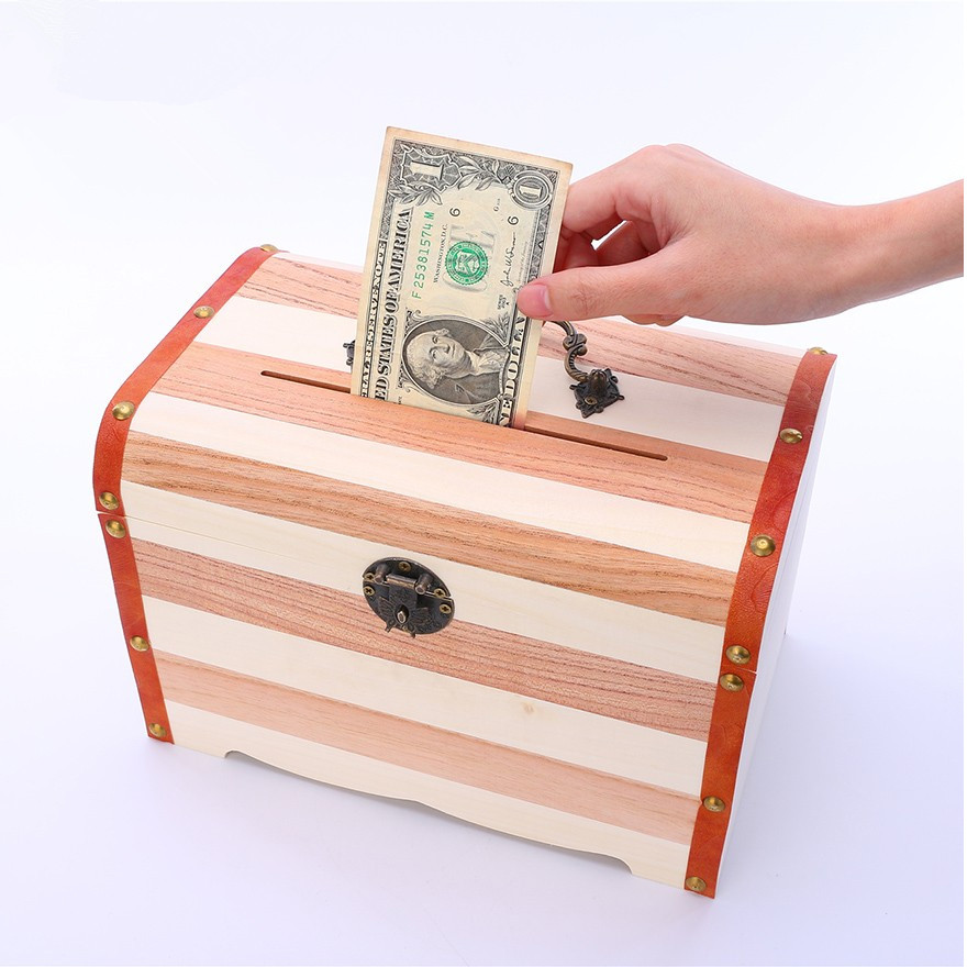 Wooden Box With Lock Money Storage Boxes Case Piggy Bank Jewelry Organizer Secret Caja De Cosmeticos Almacenamiento In Bins From Home
