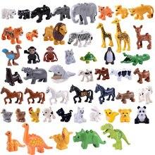 50 шт./лот, наборы строительных блоков серии животных, большие частицы, кирпичи динозавров, игрушки, совместимые с большими блоками Duploe