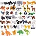 Конструктор 50 шт./лот серии «животные», наборы строительных блоков, большие частицы, животные, динозавры, кирпичи, игрушки, совместимы с боль...
