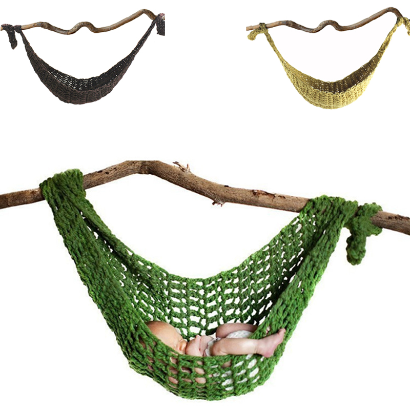 HOT!Newborn Baby Hammock Cute Crochet Knit Costume Prop Photo Photography Photo Props New Born Baby Girls Cute Outfits 7 Colors newborn baby photography props infant knit crochet costume peacock photo prop costume headband hat clothes set baby shower gift page 2