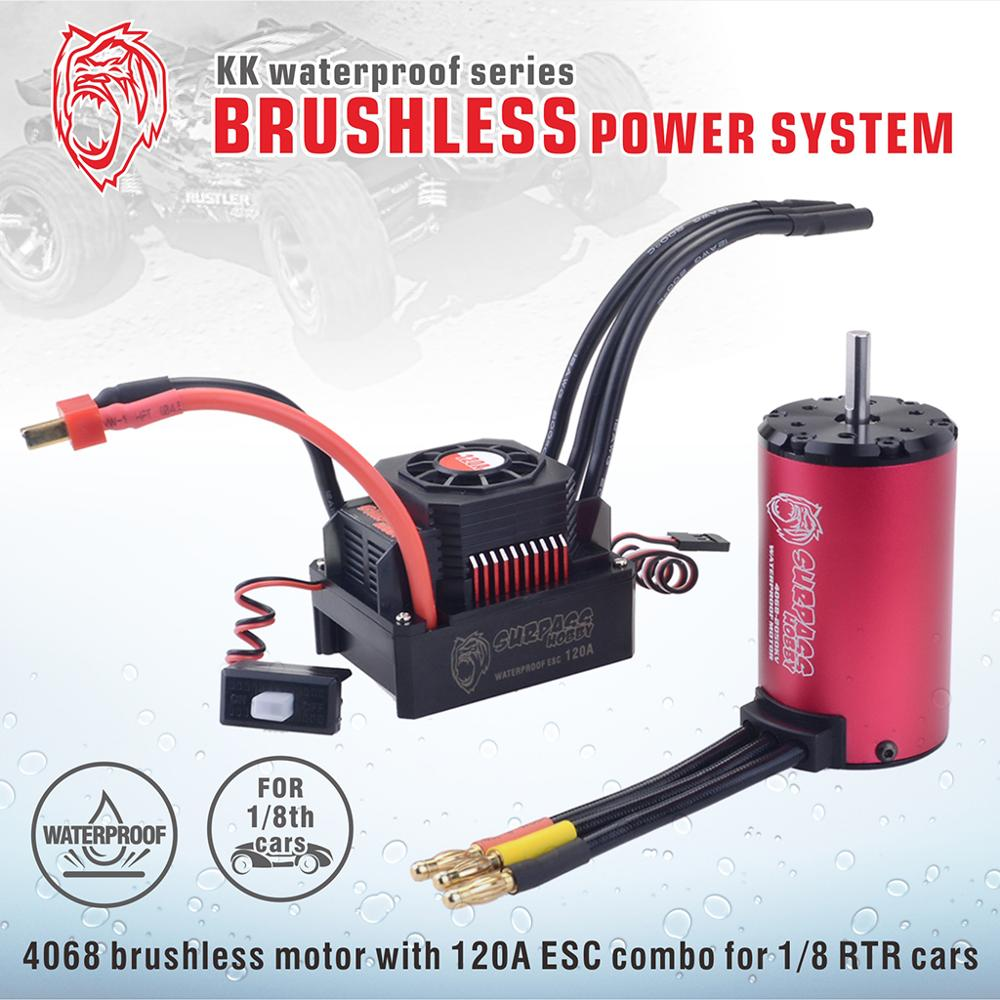 SURPASSHOBBY KK Waterproof Combo 4068 2050KV 2650KV Brushless Motor w/120A ESC for 1/8 RC Drift Racing Car-in Parts & Accessories from Toys & Hobbies