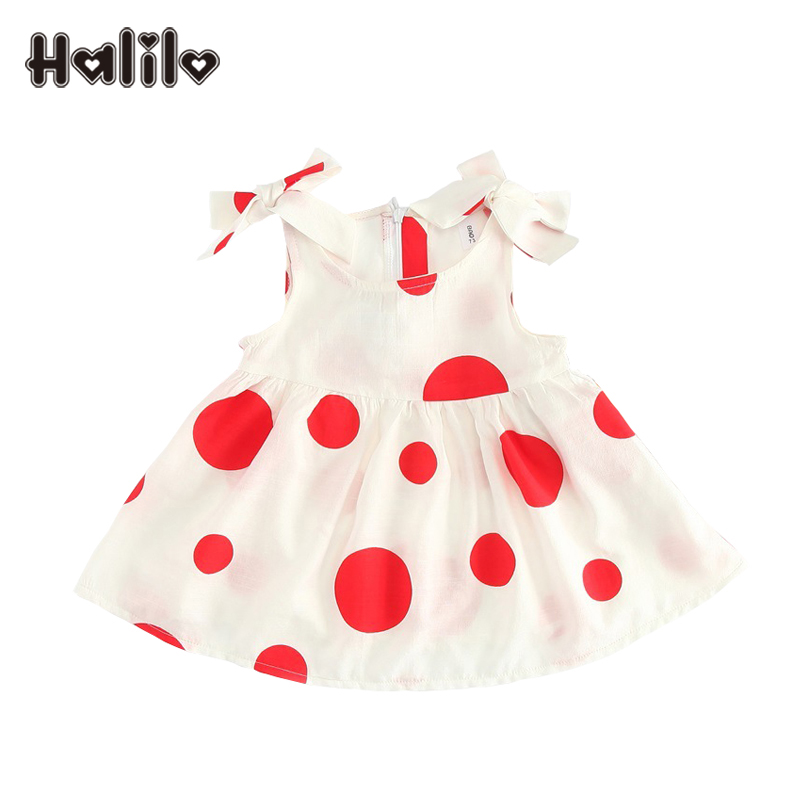 Halilo Baby Girls Dresses Princess Dot Print Infant Girl Dresses Summer Baby Girl Clothes Princess First Birthday Dress With Bow