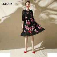 Newest Spring Summer Women Dress Fashion Round Collar Vintage Cotton Lace Embroidery Dress Loose Casual Maxi