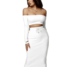 2 Pc Set Women Sexy Word Collar Wrapped Chest Long Sleeve Dress Two Piece Outfits Ensemble Femme Club