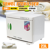 23L Sterilizer Cabinet Hot Facial Towel Warmer Disinfection Beauty Spa Salon 200W 220V 50Hz 3 in 1 Function ABS+Stainless Steel