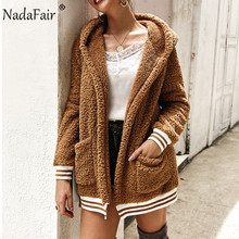 Nadafair Faux Fur Coat Women Hooded Winter Casual Teddy Coat Autumn Pockets Plus Size Fur Jacket Fleece Plush Overcoat Outwear