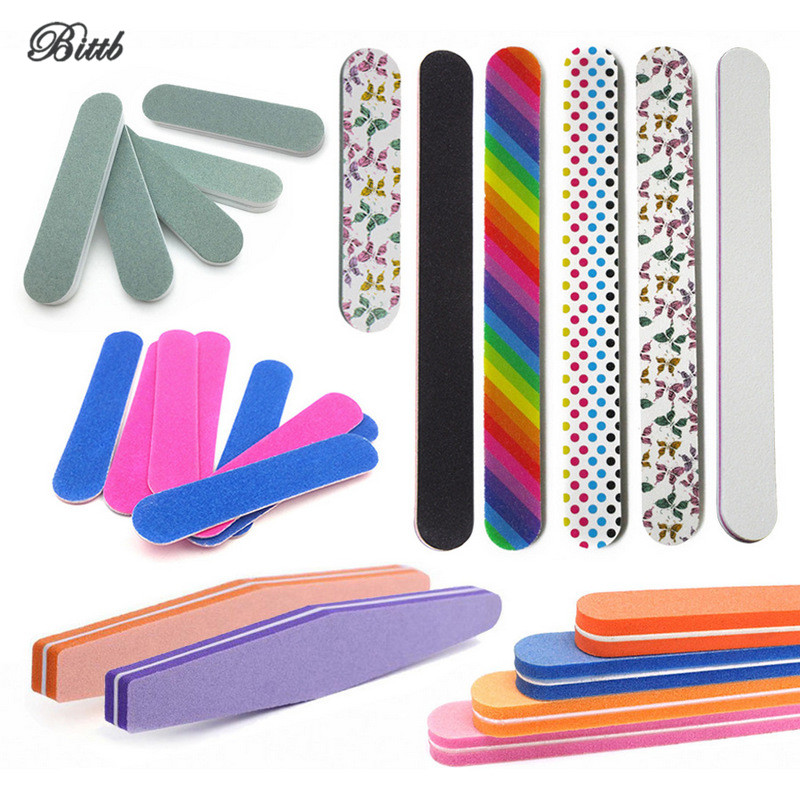 купить Bittb 5Pc/Lot EVA Nail Files 100/180 Grit Manicure Polishing Tool Nail File Buffer Gel File Block DIY Trimming Nail Sanding Kit по цене 104.04 рублей