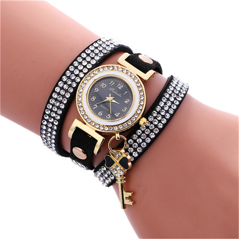 New Fashion Hot Sale Fashion Casual Wrist Watch Leather Bracelet Women Watches Rhinestone Artificia Leather Relogio