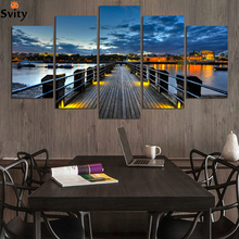 (No Frame)City and Bridge 5 Panels/Set Large HD Picture Canvas Print Painting Artwork Wall Decorative painting F255