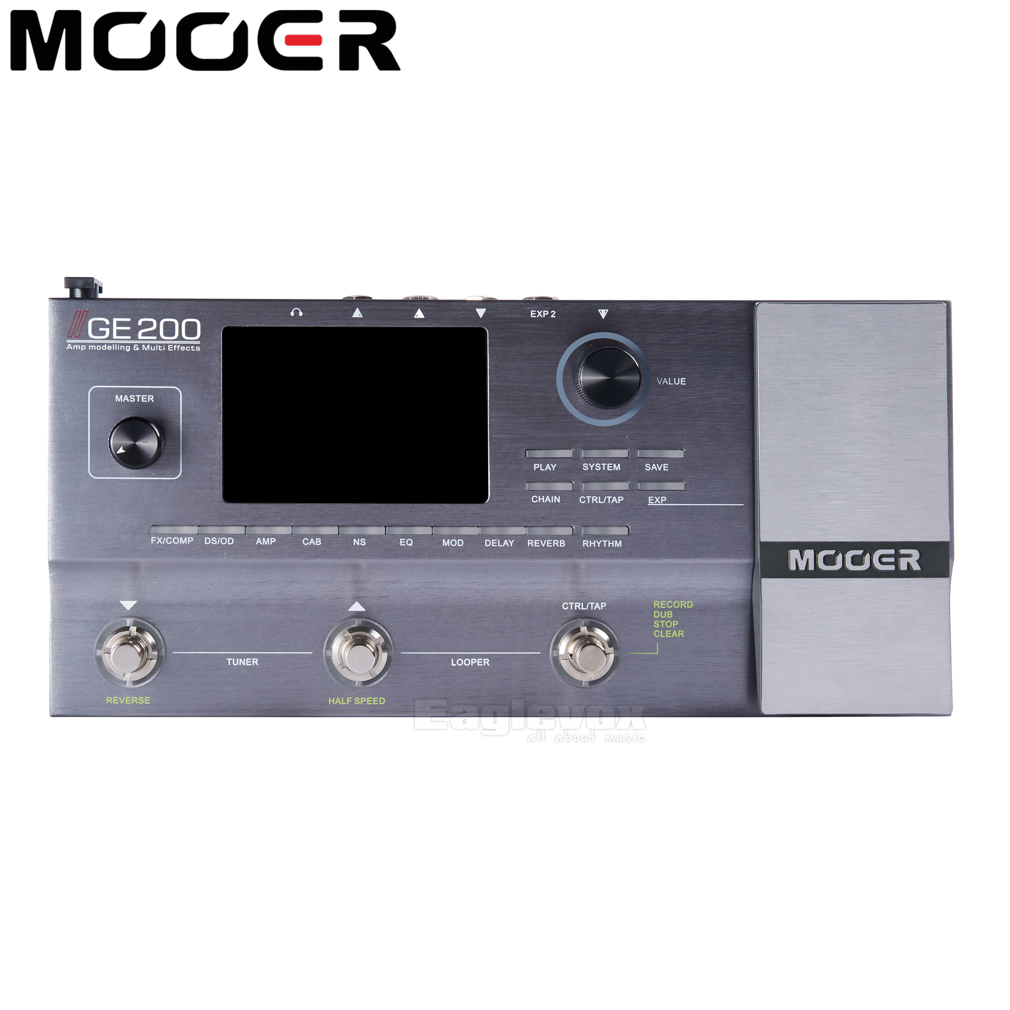 Mooer GE200 Multi Effects Processor Electric Guitar Effect Pedal Multi Effects  52 Second Looper 55 AMP Models Mooer GE200 mooer ensemble queen bass chorus effect pedal mini guitar effects true bypass with free connector and footswitch topper