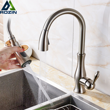 Kitchen Faucet Tap Stream-Sprayer Brushed Nickel Pull-Out Cold-Water-Tap Bathroom Single-Handle