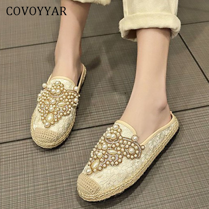 COVOYYAR 2019 Luxury Pearl Women Slippers Spring Summer Slip on Woman Shoes Flat Beaded Lady Slides Elegant Mules WSL52