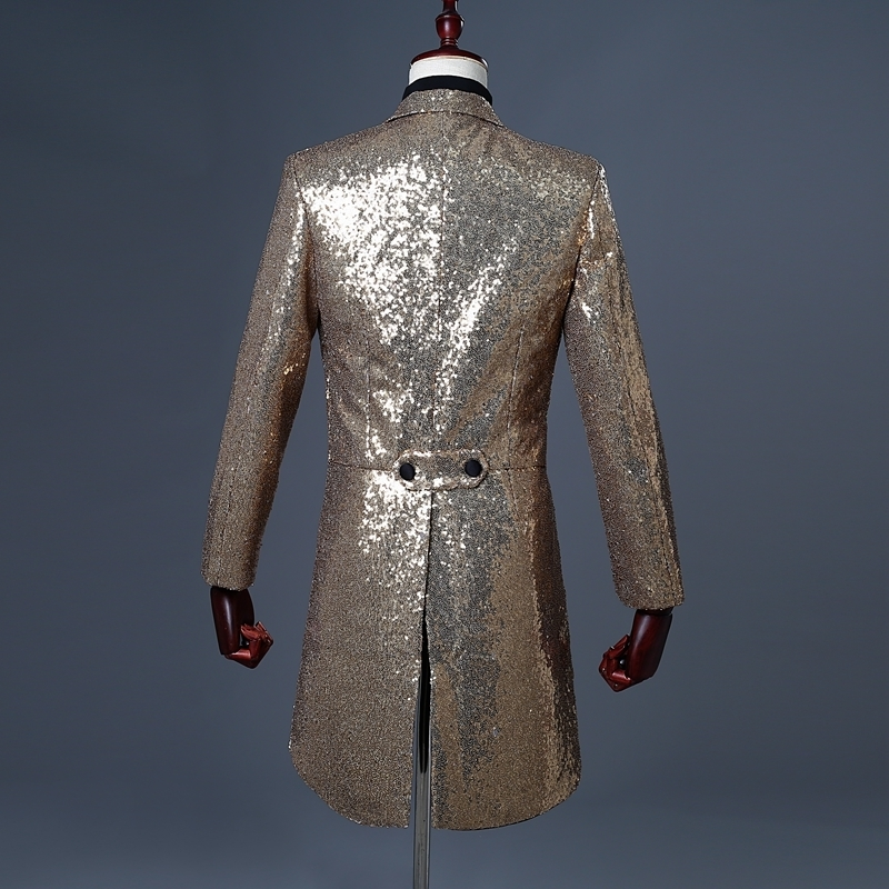 Image 2 - PYJTRL 2018 Men Gold Silver Red Blue Black Sequin Slim Fit  Tailcoat Stage Singer Prom Dresses Costume Wedding Groom Suit Jacket-في  السترات من ملابس الرجال على
