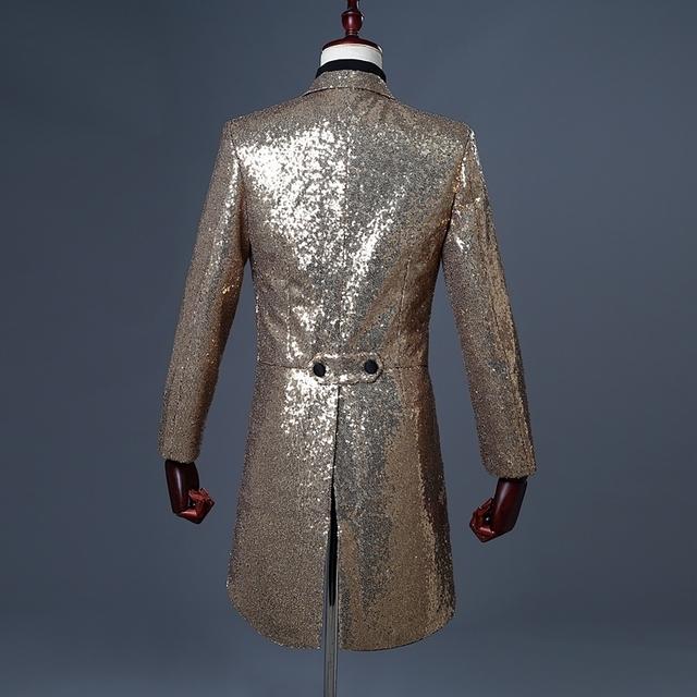 PYJTRL 2018 Men Gold Silver Red Blue Black Sequin Slim Fit Tailcoat Stage Singer Prom Dresses Costume Wedding Groom Suit Jacket
