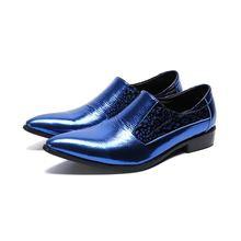 Italian mens shoes brands Large size blue mens oxfords wedding loafers party shoes genuine leather dress shoes man цены онлайн