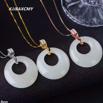 KJJEAXCMY boutique jewelry,Hetian white jade pendant support 925 silver inlay 18k rose gold gold, white gold and three colors op