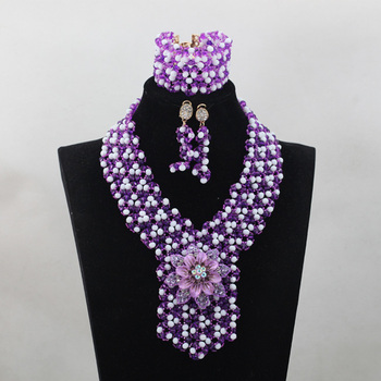 Romantic White/Purple Flowers Handmade Beads Crystal Jewelry Set African Jewelry Set Bridal Jewelry Set Free ShippingABL964