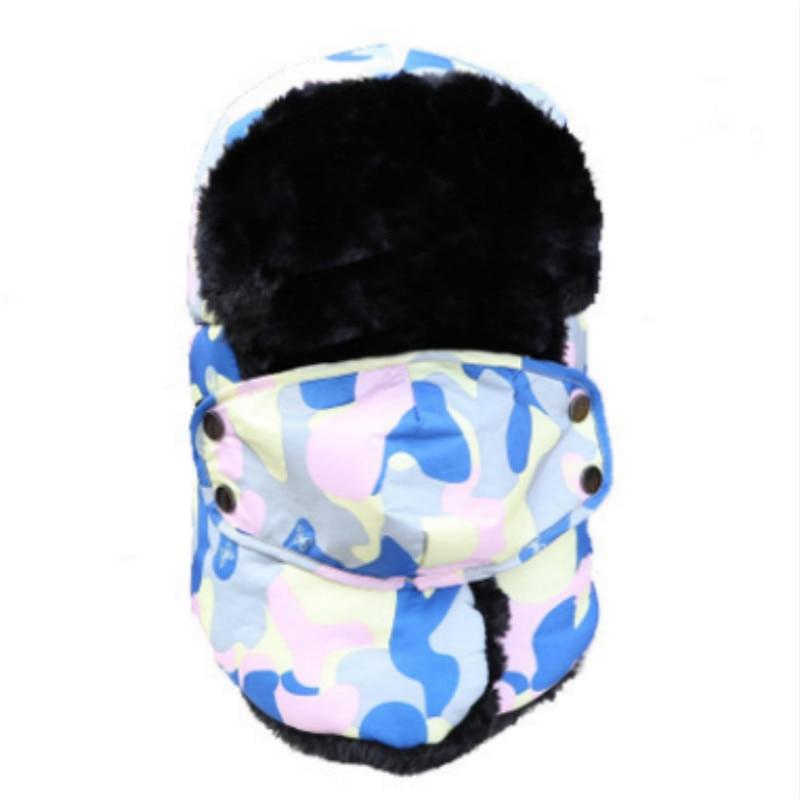 Которая в душе семья мех бомбер шляпа для женщин и мужчин ушные щитки Русская Шапка Детская уличная теплая утолщенная зимняя шапка с шарфом маска - Цвет: adult camo pink