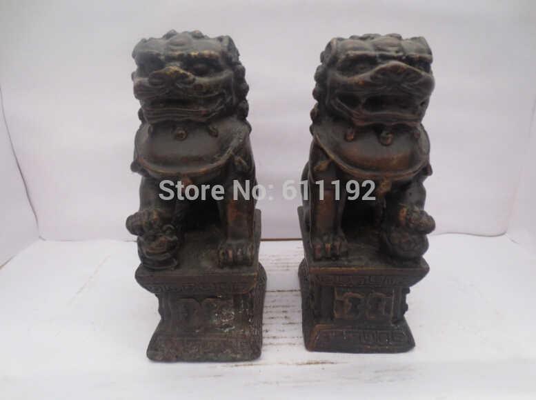 ฮวงจุ้ยตกแต่งบ้านรูปปั้นโบราณงานฝีมือโลหะคู่e xorcismฟูฟูสุนัขสิงโตประติมากรรม