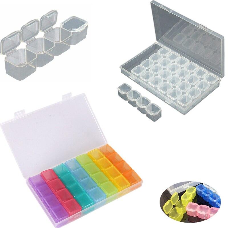 Organize 28 Slots Adjustable Plastic Storage Box Jewelry Clear /7 color Box Case Diamond Embroidery Craft Bead Pill Storage Tool