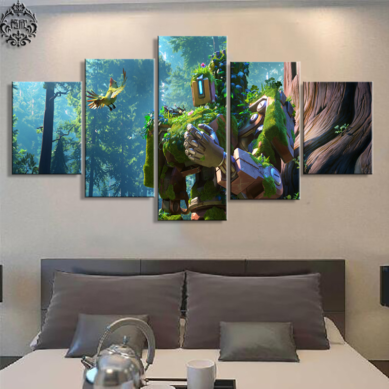 Game Canvas Painting Poster 5 Panel Overwatch Bastion Wall