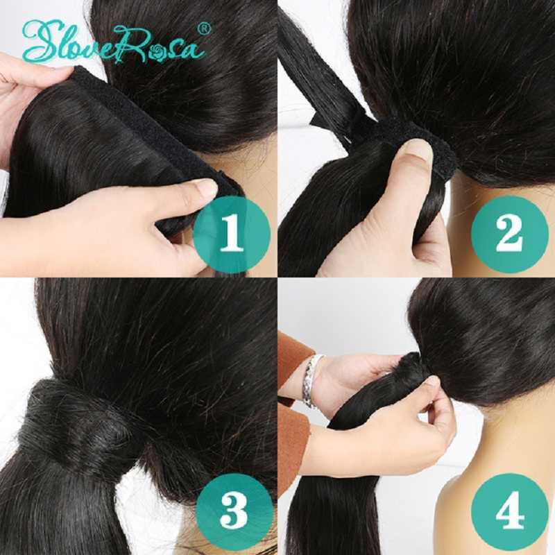 Ponytail Body Wave Brazilian Hair With Full End Natural Black Color For Woman 150g Remy Human Hair Ponytails Clip-In Slove Rose