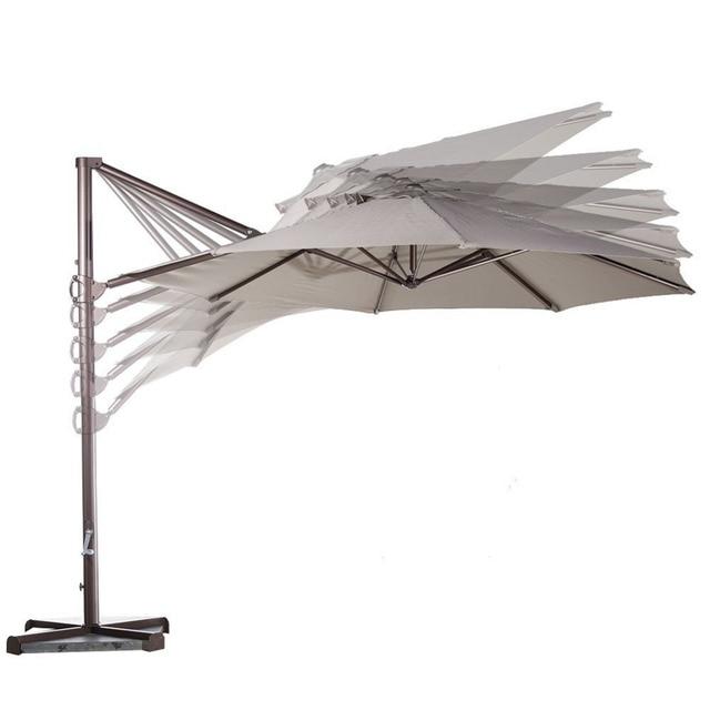 Abba Patio Garden Outdoor Furniture 11 Feet Aluminum Offset Cantilever Umbrella With Cross Base Tan