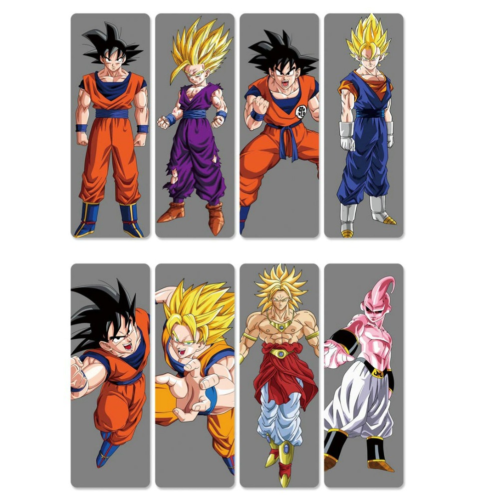 8pcs Dragon Ball GOKU Vegeta Anime Bookmarks Waterproof Transparent PVC Plastic Bookmark Beautiful Book Marks Gift