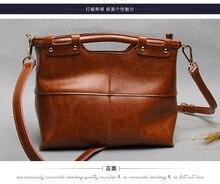 2016 genuine   leather handbag cowhide leather  lady shoulder  bag   new vintage oil wax   messenger bag